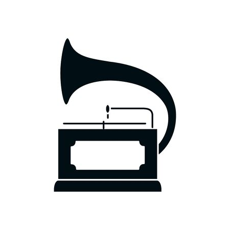 turntable silhouette style icon design, Music sound melody song musical art and composition theme Vector illustration