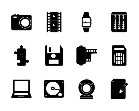 silhouette style icon set design, multimedia technology internet digital communication social media web and device theme Vector illustration