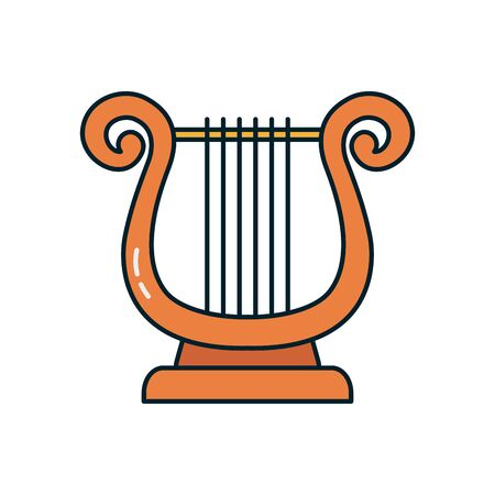 lyre instrument line and fill style icon design, Music sound melody song musical art and composition theme Vector illustration