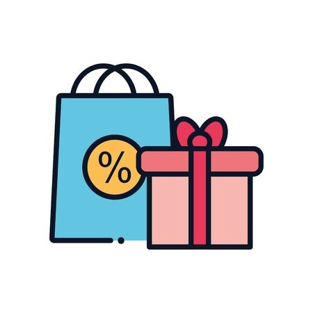 gift and sale bag line fill style icon design of Shopping commerce market store shop retail buy paying banking and consumerism theme Vector illustration