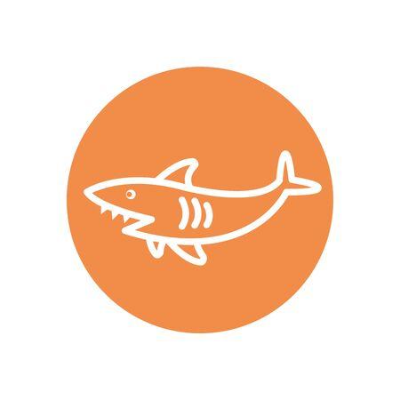 shark line block style icon design Sea life ecosystem fauna ocean underwater water nature marine tropical theme Vector illustration