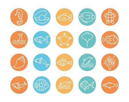 line block style icon set design Sea animals life ecosystem fauna ocean underwater water nature marine tropical theme Vector illustration