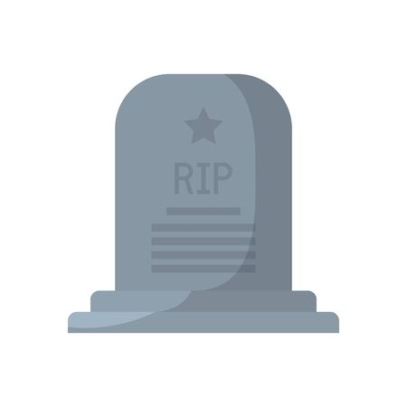 rip grave with star flat style icon design, Memorial day holiday patriotic freedom celebration independence veteran and patriotism theme Vector illustration