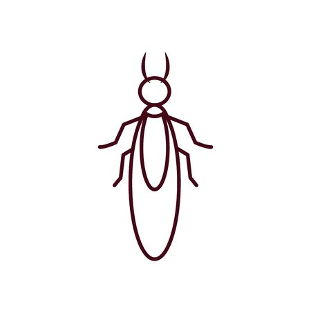 earwig insect icon over white background, line style, vector illustration Vector Illustration