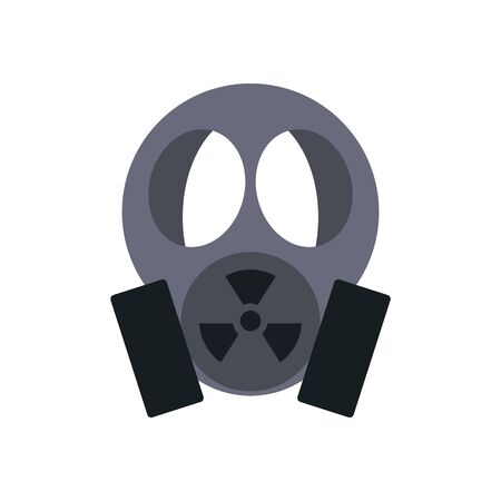 nuclear mask icon over white background, flat style, vector illustration Stock Illustratie