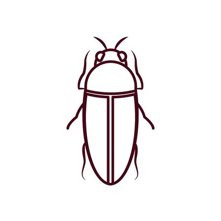 bug insect icon over white background, line style, vector illustration