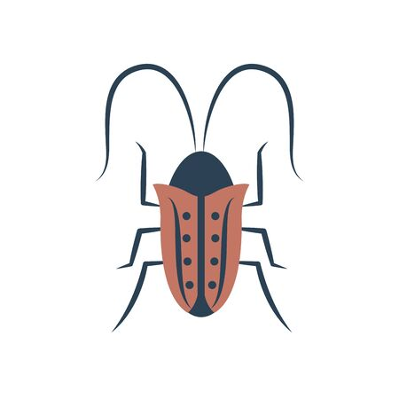 cockroach icon over white background, flat style, vector illustration Vector Illustration