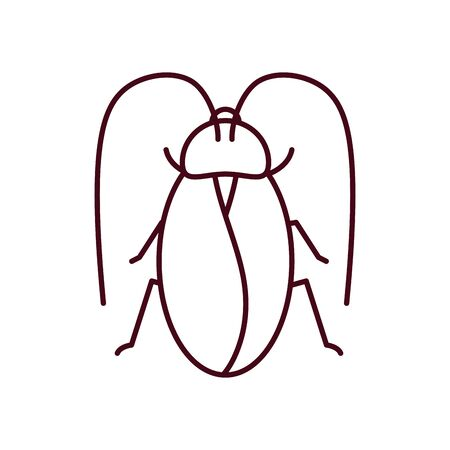 giant cockroach icon over white background, line style, vector illustration Vettoriali
