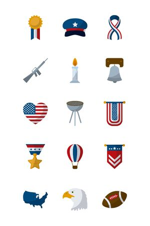 flat style icon set design, Memorial day holiday patriotic freedom celebration independence veteran and patriotism theme Vector illustration