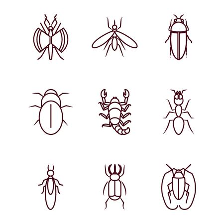 scorpion and insect concept icon set over white background, line style, vector illustration
