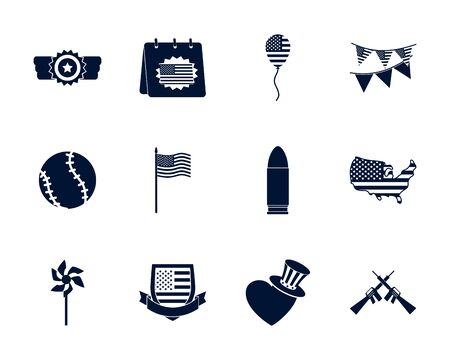 silhouette style icon set design, Memorial day holiday patriotic freedom celebration independence veteran and patriotism theme Vector illustration