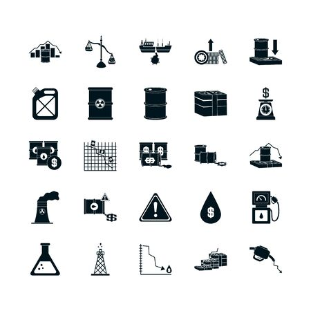 financial reports and oil crash concept icon set over white background, silhouette style, vector illustration