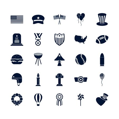 silhouette style icon set design, Memorial day holiday patriotic freedom celebration independence veteran and patriotism theme Vector illustration Çizim