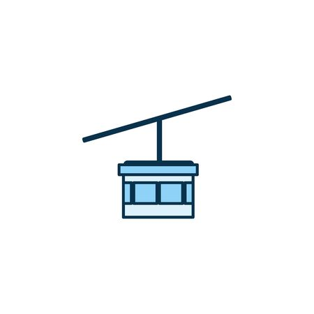 Cable car vehicle line style icon design, Transportation travel trip urban motor speed fast and driving theme Vector illustration