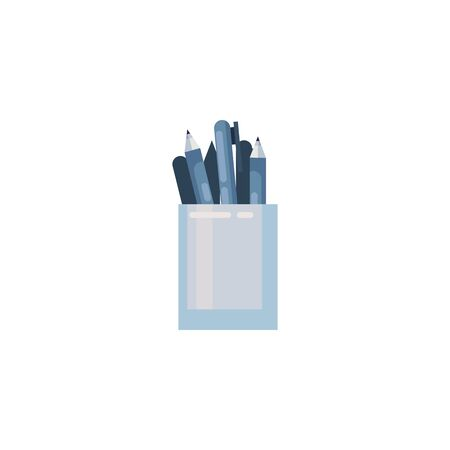 Pens inside mug fill style icon design, Tool write office object instrument equipment draw art and learn theme Vector illustration