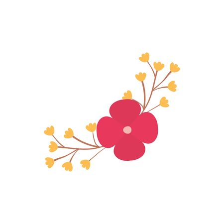 Red and yellow flower flat style icon design, floral nature plant ornament garden decoration and botany theme Vector illustration Иллюстрация