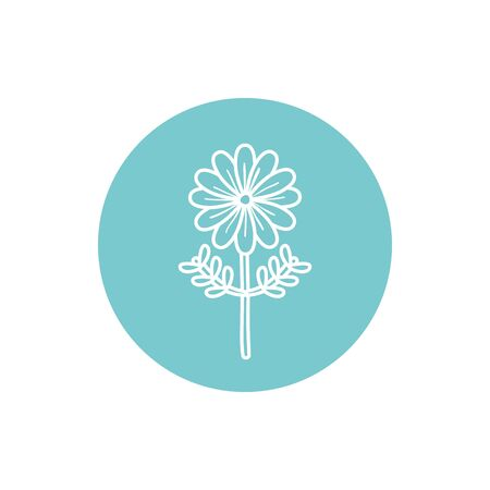 Flower inside blue circle line block style icon design, floral nature plant ornament garden decoration and botany theme Vector illustration