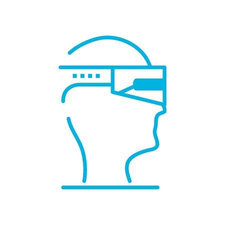 head, smartglasses line style icon design, futuristic virtual technology modern innovation digital entertainment tech and simulation theme Vector illustration