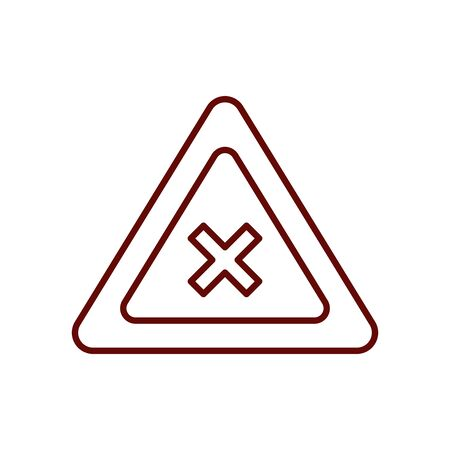not cross sign icon over white background, line style, vector illustration