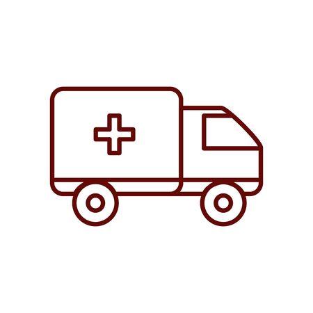 ambulance icon over white background, line style, vector illustration