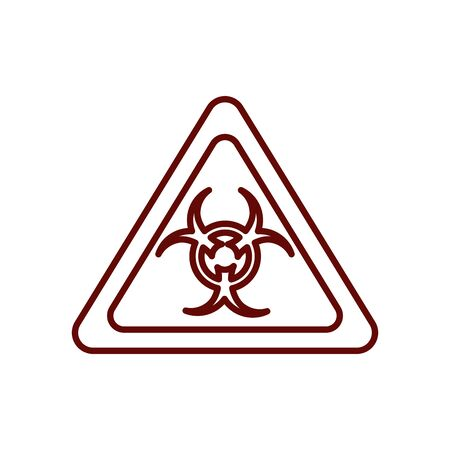biohazard sign icon over white background, line style, vector illustration