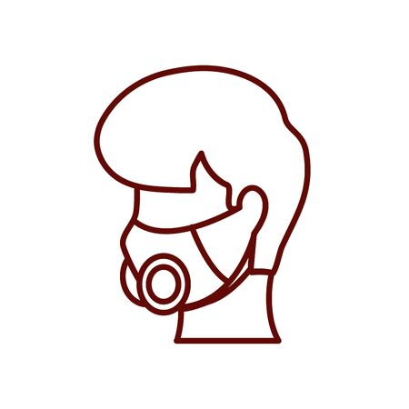 man with respirator mask icon over white background, line style, vector illustration