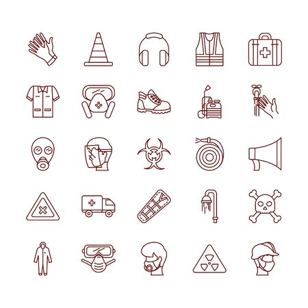 megaphone and safety elements icon set over white background, line style, vector illustration