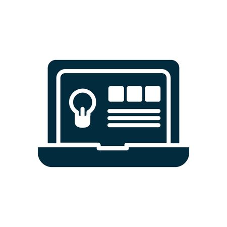 online education concept, laptop computer with educcation web page on screen over white background, silhouette style, vector illustration