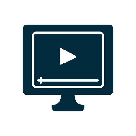 online education concept, computer with video player on screen icon over white background, silhouette style, vector illustration