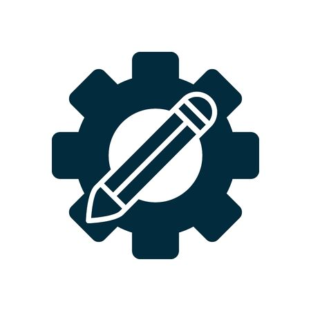online education concept, gear wheel with pencil icon over white background, silhouette style, vector illustration