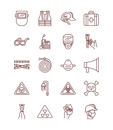 first aid kit and safety elements icon set over white background, line style, vector illustration Ilustración de vector
