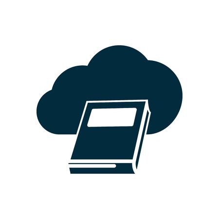 online education concept, cloud storafe and academic book icon over white background, silhouette style, vector illustration