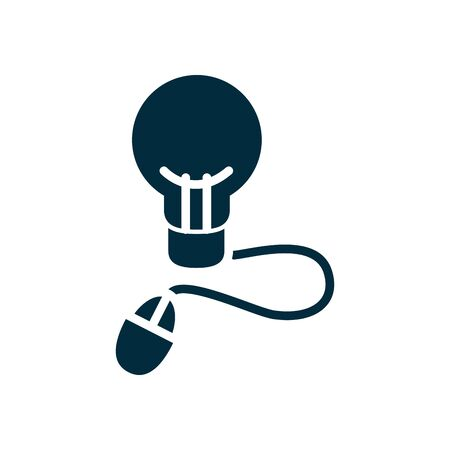 online education concept, idea bulb with mouse device icon over white background, silhouette style, vector illustration 向量圖像