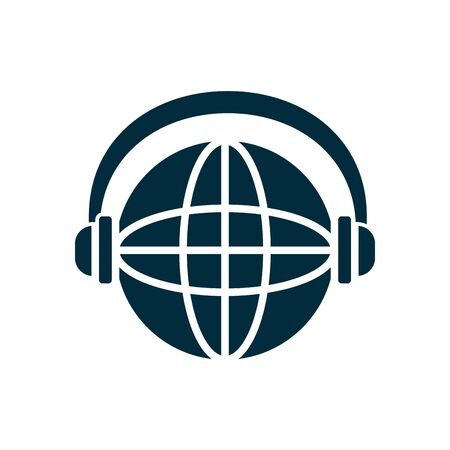 global sphere with headphones icon over white background, silhouette style, vector illustration