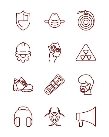 shield and industrial security icon set over white background, line style, vector illustration