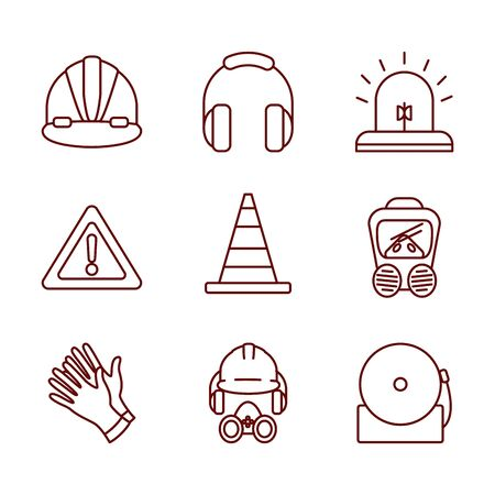 traffic cone and safety elements icon set over white background, line style, vector illustration Ilustração