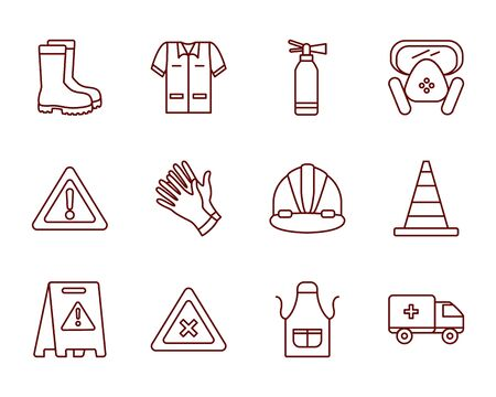 boots and industrial security icon set over white background, line style, vector illustration Ilustração
