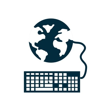 online education concept, global sphere with keyboard device icon over white background, silhouette style, vector illustration