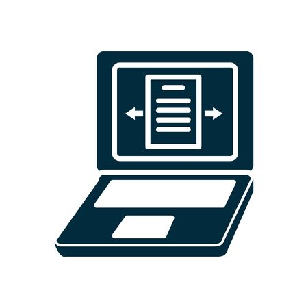 online education concept, laptop computer icon over white background, silhouette style, vector illustration