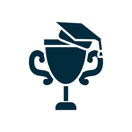 online education concept, trophy cup with graduation cap icon over white background, silhouette style, vector illustration 向量圖像