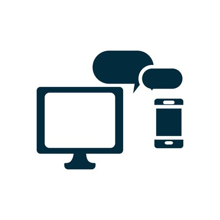 online education concept, computer and smartphone with speech bubbles icon over white background, silhouette style, vector illustration