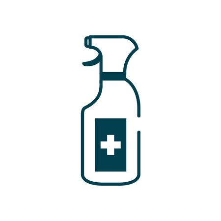 antibacterial spray bottle icon over white background, line style, vector illustration