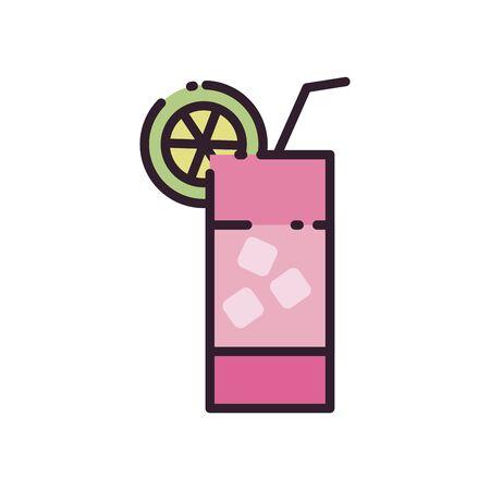 Cocktail fill style icon design, Alcohol drink bar beverage liquid menu surprise restaurant and celebration theme Vector illustration Illustration