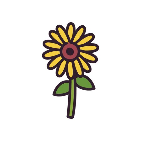 Sunflower fill style icon design, floral nature plant ornament garden decoration and botany theme Vector illustration