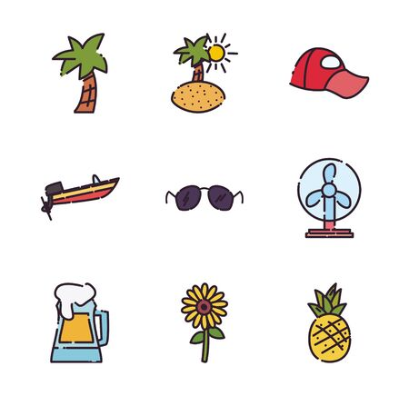 fill style icon set design, Summer vacation tropical relaxation outdoor nature tourism relax lifestyle and paradise theme Vector illustration Çizim