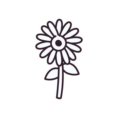 Sunflower line style icon design, floral nature plant ornament garden decoration and botany theme Vector illustration Çizim
