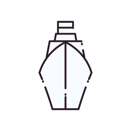 Ship vehicle line style icon design, Boat nautical transportation marine sea summer ocean and travel theme Vector illustration Ilustração