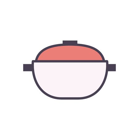 pot line and fill style icon design, kitchen cook eat food restaurant home menu dinner lunch cooking and meal theme Vector illustration