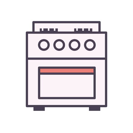 stove line and fill style icon design, kitchen cook eat food restaurant home menu dinner lunch cooking and meal theme Vector illustration