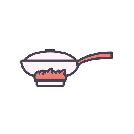 frying pan line and fill style icon design, kitchen cook eat food restaurant home menu dinner lunch cooking and meal theme Vector illustration